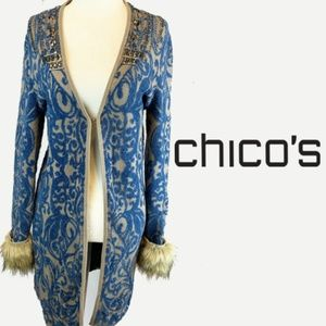 CHICO'S Brocade Duster Cardigan with Bead Accents